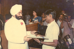 D Mani, receiving Best Employee National Award from President of India