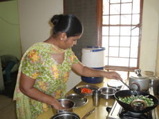 student of intensive training course learning cooking